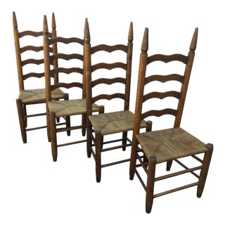 Primitive Lodge Ladder Back Chairs- Set of 4