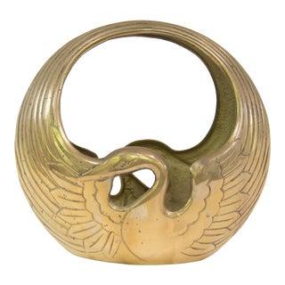 Solid Brass Art Deco Style Swan Basket