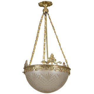 Gilt Bronze and Etched Glass Dome Hanging Fixture