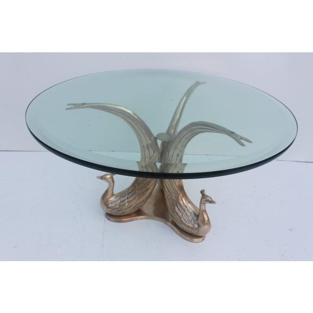 Hollywood Regency Brass Peacock Coffee Table
