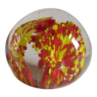 Red & Yellow Flower Blown Glass Paper Weight