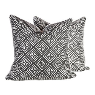 Black & Ivory Silk Fiorentina Pillows - A Pair