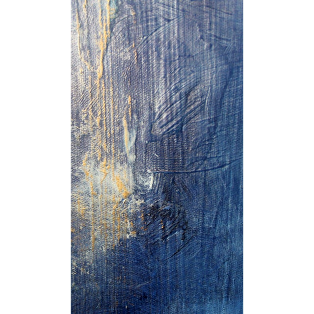 """Cool to the Core"" Modern Abstract Blue Art Textured Canvas Wall Hanging Painting - Image 3 of 3"
