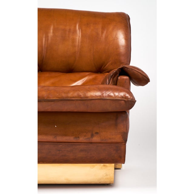 Modernist French Leather and Brass Sofa - Image 8 of 11