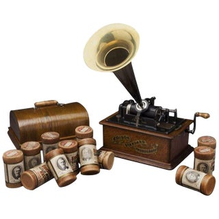 Early 20th Century Oak Edison Cylinder Phonograph with Casing and 12 Records