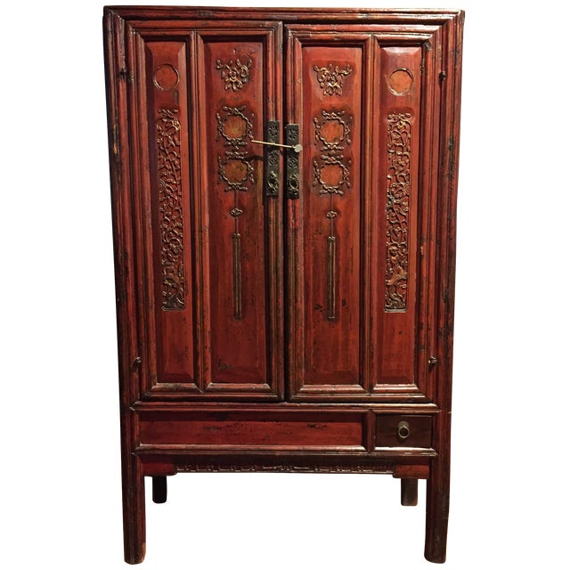 Antique Chinese Red Carved Cabinet - Image 1 of 9