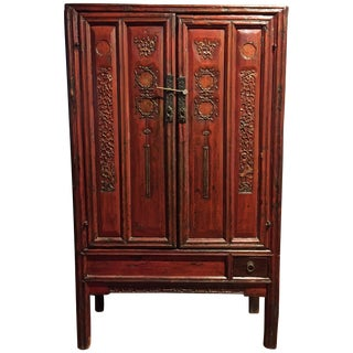Antique Chinese Red Carved Cabinet