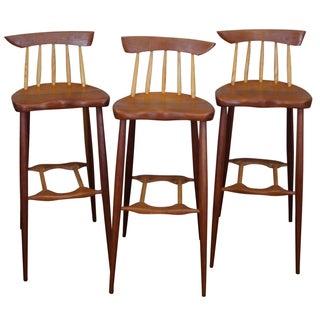 Wood Atomic-Style Bar Stools - Set of 3