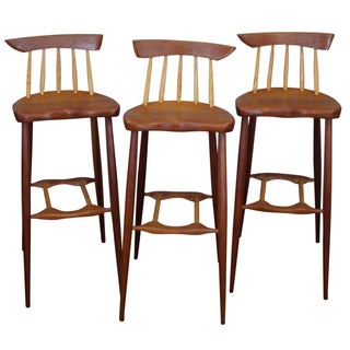 Wood Atomic-Style Bar Stools - Set of 3