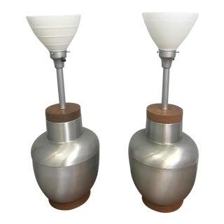 1950s Spun Aluminum & Walnut Lamps - A Pair