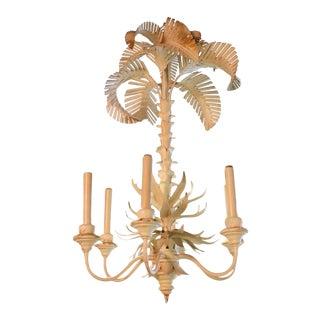 Serge Roche Style Metal Tole Italian Palm Tree Frond Chandelier