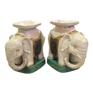 Ceramic Elephant Garden Stools - A Pair