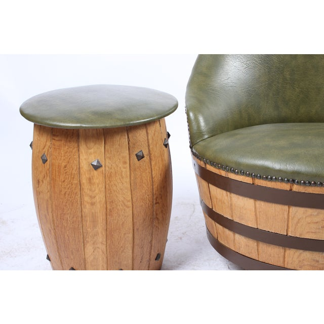 Oak Barrel Seating with Stools - Set of 4 - Image 4 of 7