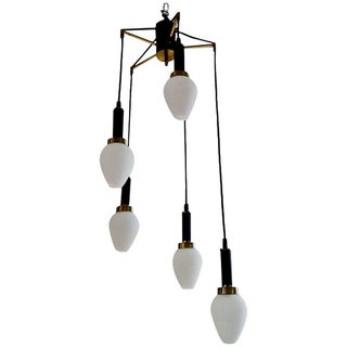 Italian 5 Light Mid-Century Chandelier