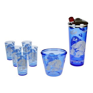 "Art Deco Hazel Atlas Ritz Blue Windmill ""Sportsman"" Cocktail Shaker Glass Set"