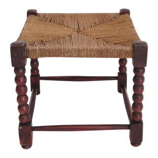 19th Century Red Washed Painted Pine Footstool with Sea Grass Woven Top