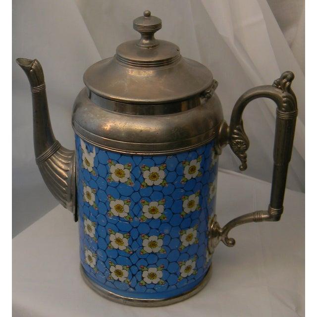 Image of Antique Graniteware Pewter & Apple Blossoms Teapot