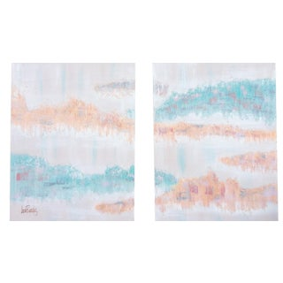 Two-Panel Pastel Abstract Painting by Lee Reynolds