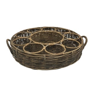 Vintage Rattan Wine Bottle Basket Holder