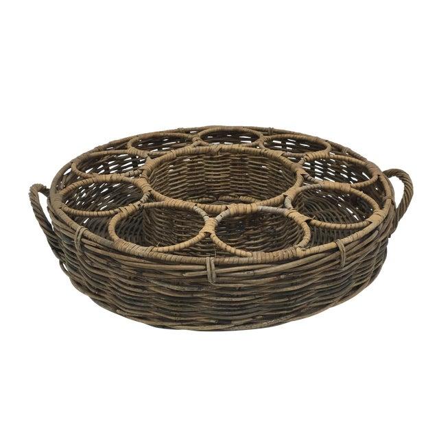 Image of Vintage Rattan Wine Bottle Basket Holder