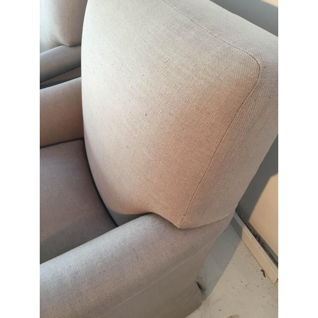 Baker Belgian Linen Club Chairs - A Pair - Image 4 of 9