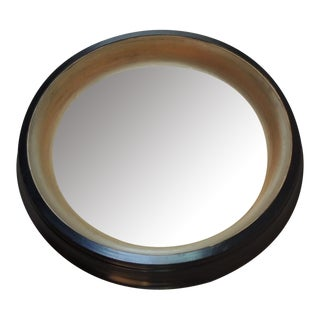 Ebonized Restoration Hardware Wood Convex Mirror
