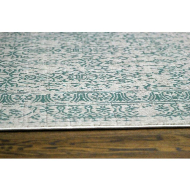 "Teal Distressed Patterned Rug - 8'x10'7"" - Image 4 of 7"