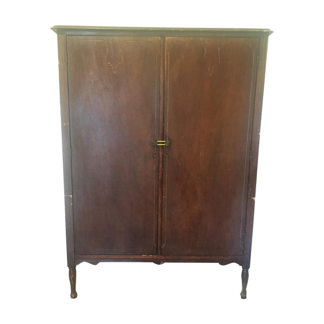 Antique Edwardian Wood Armoire - Image 1 of 10