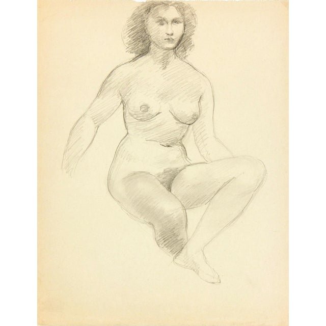 Image of Female Figure Drawing Free Mat&Shipping, C. 1940