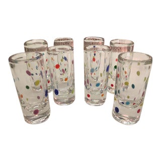 1980's Murano Hand Blown Shot Glasses - Set of 8