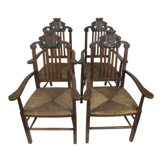 Vintage Oak King's Chairs - Set of 4