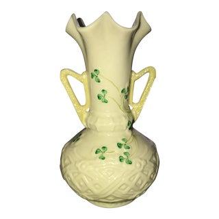 White w/ Green Shamrocks Baleek Vase