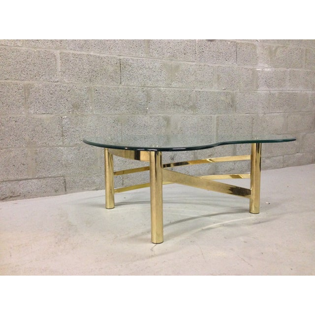 Hollywood Regency Kidney Shaped Glass Coffee Table