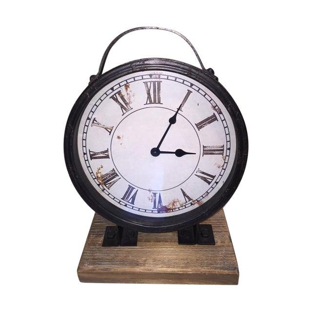 Vintage Industrial Barnwood Base Clock - Image 1 of 5