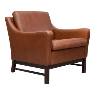 Danish Modern Leather Lounge Chair