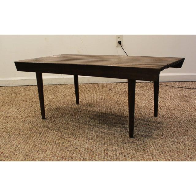 Mid Century Danish Modern Walnut Slat Bench/Coffee Table