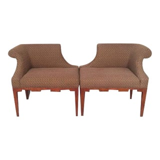 Baker Deco Style Upholstered Chairs - A Pair