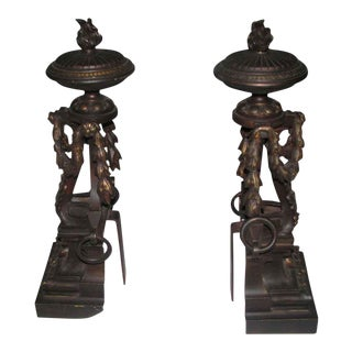 Flame Finial Ornate Bronze Andirons - A Pair