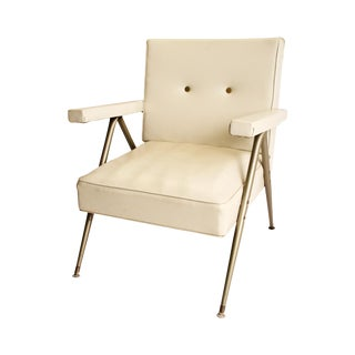 Mid Century Modern White Vinyl Accent Chair
