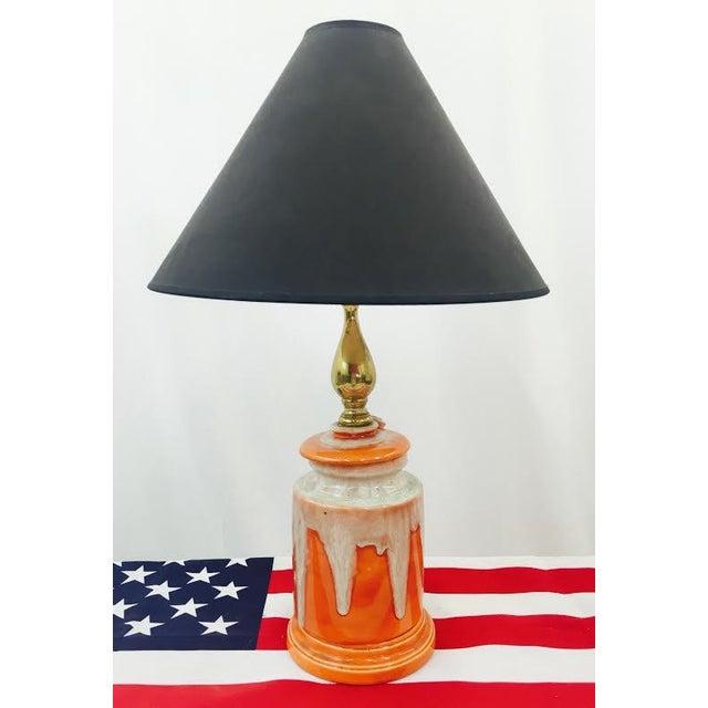Retro Orange Glazed Ceramic Lamp Chairish
