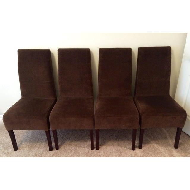 palacek brown velvet parsons dining chairs 4 chairish