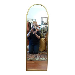 Mid Century Regency Gold Framed Mirror with Arch Top