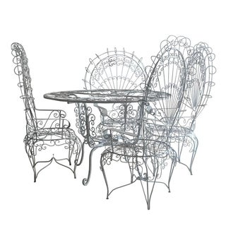 Metal Dining Set with 4 Peacock Chairs