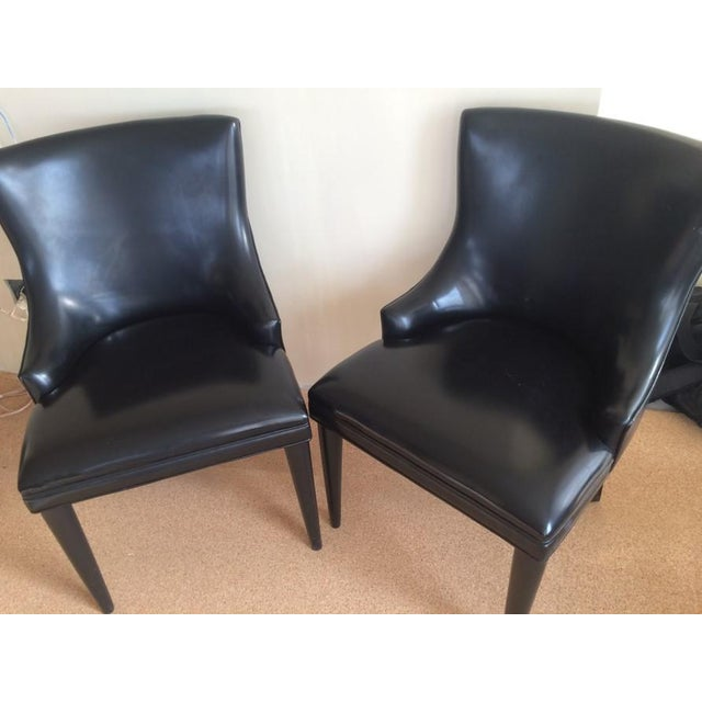 Baker Replica Black Leather Dining Chairs - A Pair - Image 8 of 8