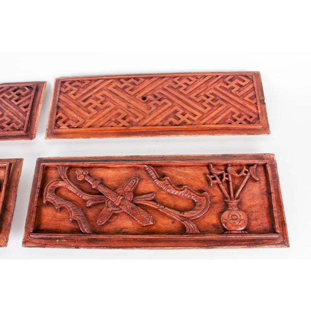 Chinese Hand-Carved Wooden Geometric & Figural Panels - Set of 4 - Image 11 of 11