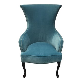 Henredon Teal Velvet Hourglass Chair
