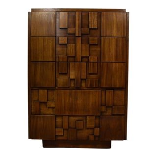 Lane Brutalist Highboy Dresser