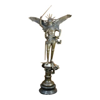 Archangel With Sword Bronze Sculpture on Marble Base