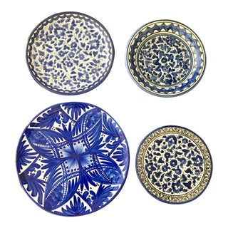 Blue & White Wall Plates - Set of 4