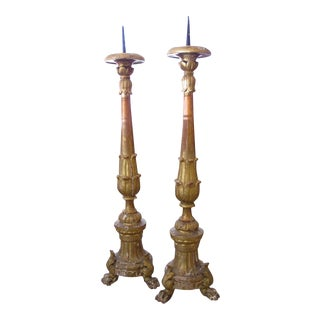 A Large & Striking Pair of Italian Baroque Style Giltwood Tripod Pricket Sticks